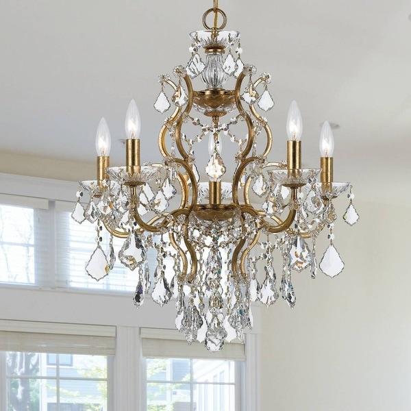 6-light Antique Gold/Crystal Chandelier - Gold