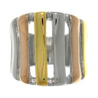 Carolina Glamour Collection Tri-color Stainless Steel Open Stripe Ring