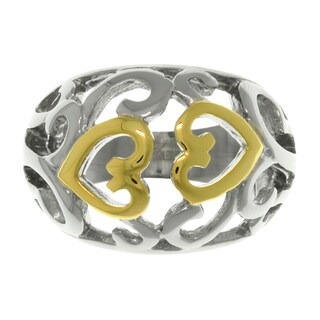 Carolina Glamour Collection Two-tone Steel Swirling Heart Ring
