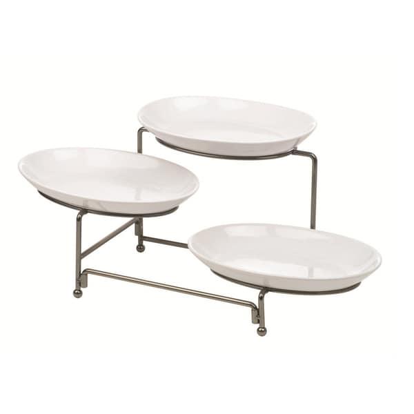 Anchor Hocking Ceramic Plate Wire Rack Serveware Set