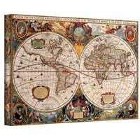 Henricus Hondius 'A New and Accurate Map of the World' Gallery-wrapped Canvas - multi