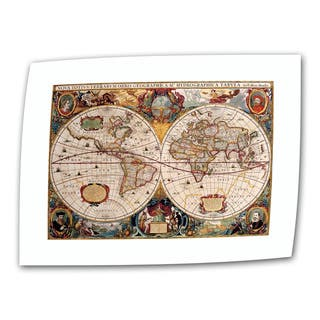 Henricus Hondius 'A New and Accurate Map of the World' Unwrapped Canvas - Multi