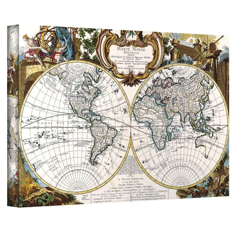 George Louis Le Rouge 'Double Hemisphere Map' Gallery-wrapped Canvas - Multi