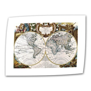 George Louis Le Rouge 'Double Hemisphere Map' Unwrapped Canvas