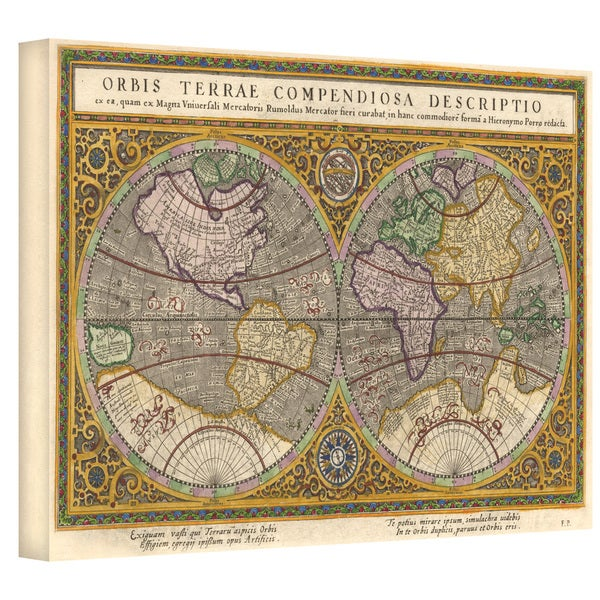 Rumold Mercator 'Orbis Terrae Compendiosa Descritio' Gallery-wrapped Canvas