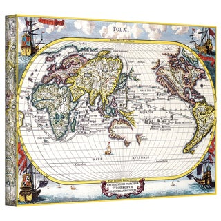 Heinrich Shcerer 'Map of the World' Gallery-wrapped Canvas