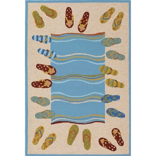 Outdoor Escape Sandals/ Sand-multi Rug (2' x 4')