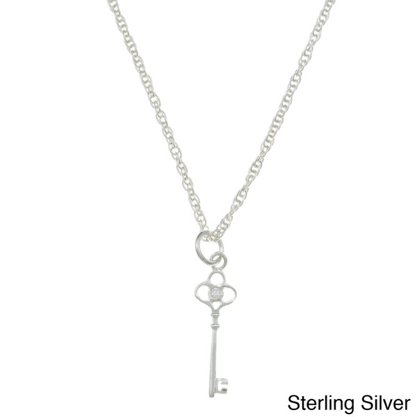 Sterling Essentials Sterling Silver Cubic Zirconia Key Rope Chain Necklace