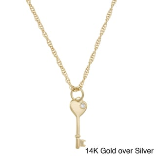 Sterling Essentials Sterling Silver Key To My Heart Cubic Zirconia Rope Necklace