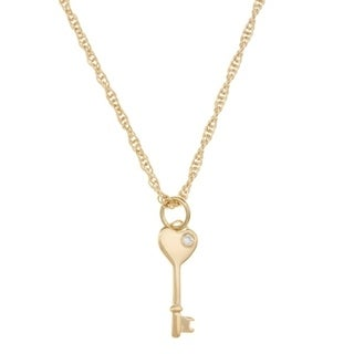 Sterling Silver Heart Key CZ Necklace