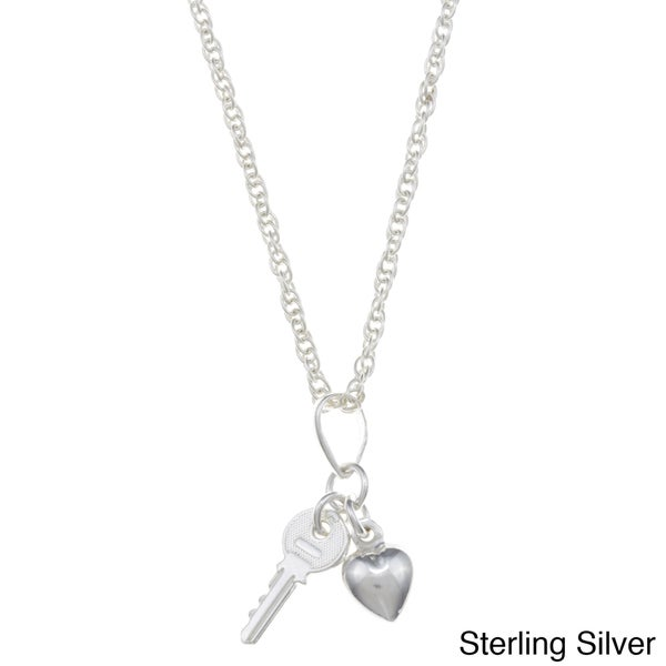 Sterling Essentials Sterling Silver Key To My Heart Rope Chain Necklace