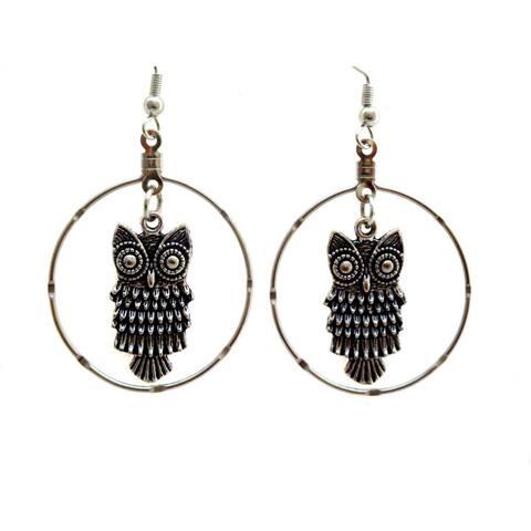 Handmade Owl Hoop Earrings