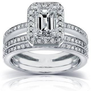Annello by Kobelli 14k Gold 1 1/2 ct TDW Emerald-cut Diamond Bridal Ring Set