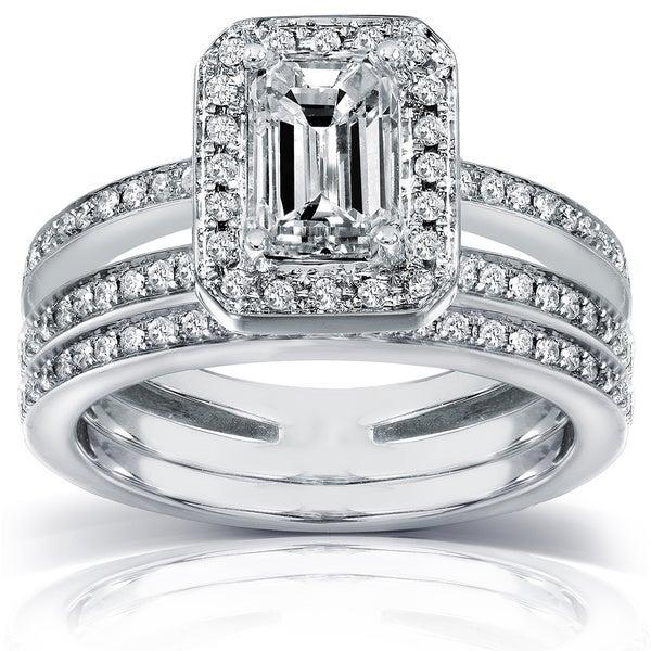 Annello by Kobelli 14k Gold 1 1/2 ct TDW Emerald-cut Diamond Bridal Ring Set