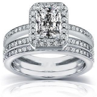 Annello 14k Gold 1 1/2ct TDW Radiant-cut Diamond Bridal Ring Set (H-I, I1-I2)