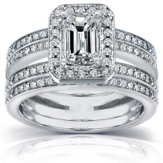 Annello 14k Gold 1 3/5 ct TDW Emerald Cut Diamond Bridal Set (H-I, SI1-SI2)