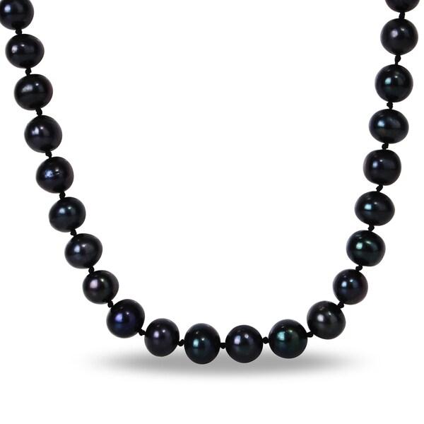 Miadora Silvertone Black Cultured Freshwater Pearl Necklace (10-11 mm)