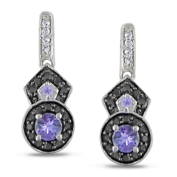 Miadora 10k Gold Tanzanite 1/4ct TDW Black and White Diamond Earrings (H-I, I2-I3)