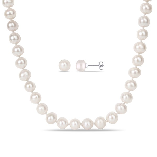 Miadora Silvertone White Cultured Freshwater Pearl Jewelry Set (8-10 mm)