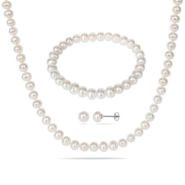 Miadora Silvertone White Cultured Freshwater Pearl Necklace, Bracelet, and Earrings Set (6 - 7 mm)