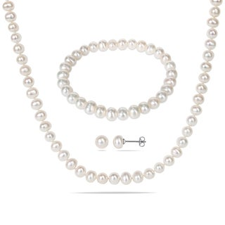 Miadora Silvertone White Cultured Freshwater Pearl Necklace, Bracelet, and Earrings Set (6-7 mm)