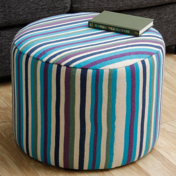 Handmade Striped Blue/ Green Ottoman Pouf (Peru)