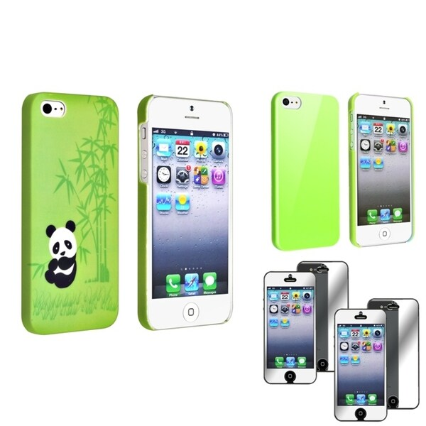 INSTEN 2 Phone Case Cover Set/ Mirror LCD Protector for Apple iPhone 5