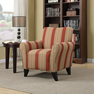 Attractive Handy Living Seth Red Stripe Curved Back Arm Chair Part 32