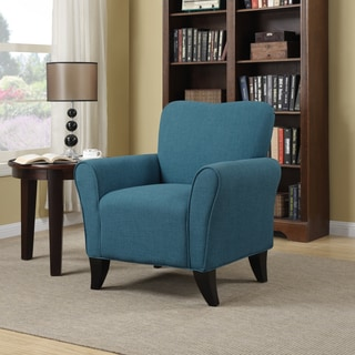 Handy Living Seth Caribbean Blue Linen Curved Back Arm Chair