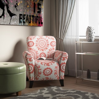 Handy Living Seth Orange Spice Medallion Curved Back Arm Chair