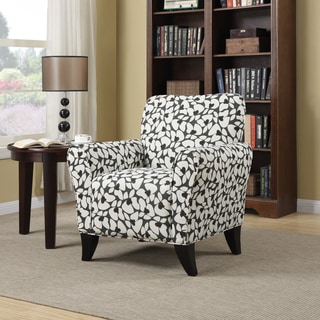 Handy Living Seth Gray Modern Floral Curved Back Arm Chair
