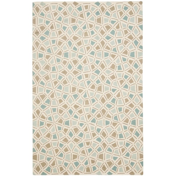 Martha Stewart by Safavieh Spring Wheel Mosaic Milk Pail Blue Cotton Rug - 9' 6 x 13' 6