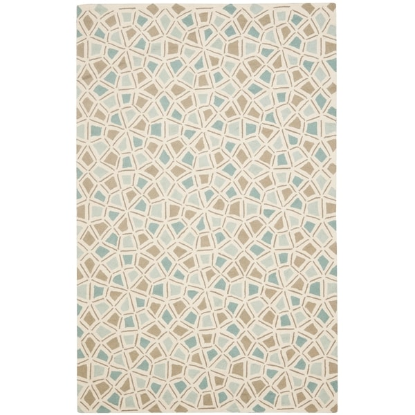 Martha Stewart by Safavieh Spring Wheel Mosaic Milk Pail Blue Cotton Rug (2' 6 x 4' 3) - 2'6 x 4'3