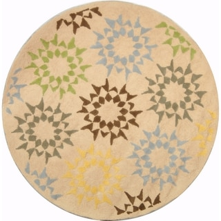 Martha Stewart Quilt Cream Cotton Rug (4' x 4' Round)