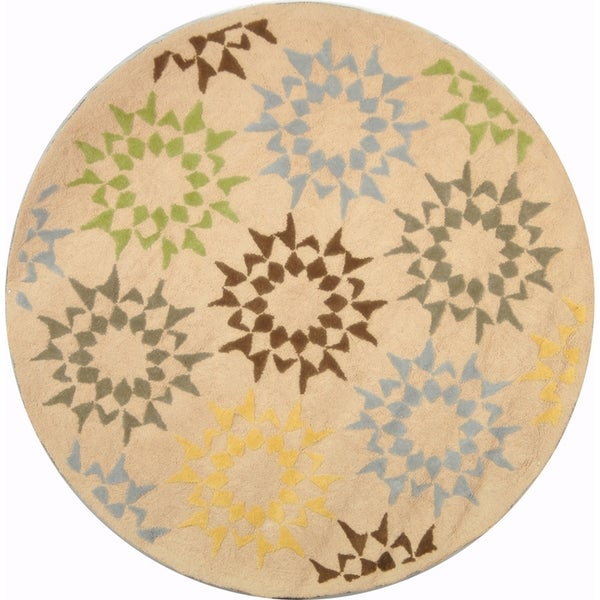Martha Stewart by Safavieh Quilt Cream Cotton Rug (4' x 4' Round)
