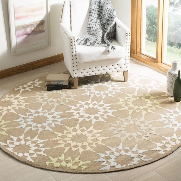 Martha Stewart by Safavieh Quilt Pebble/ Grey Cotton Rug (4' x 4' Round) - 4' x 4'