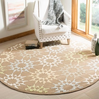 Martha Stewart by Safavieh Quilt Pebble/ Grey Cotton Rug (4' x 4' Round)