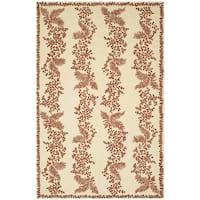 Martha Stewart by Safavieh Fern Row Red/ Dahlia Wool Rug - 5'6 x 8'6