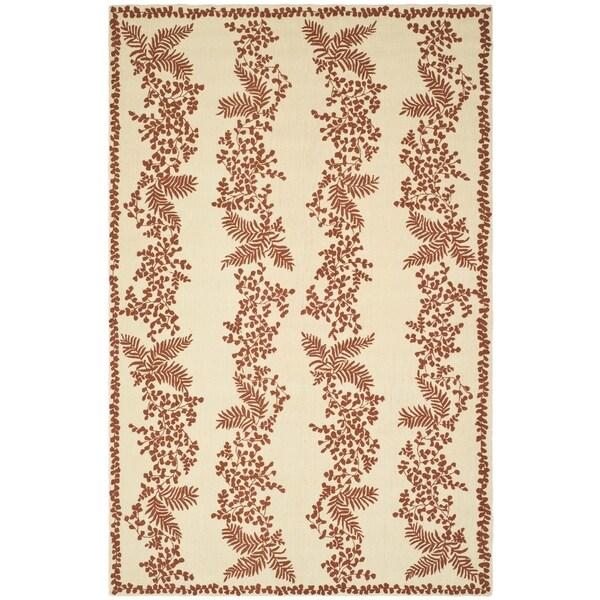 Martha Stewart by Safavieh Fern Row Red/ Dahlia Wool Rug (7' 9 x 9' 9)