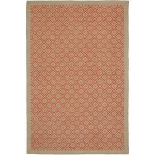 Martha Stewart Blossom Lattice Quince Blossem Red Wool Rug (5' 6 x 8' 6)