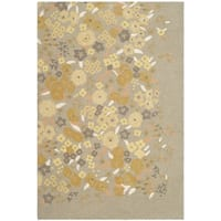 "Martha Stewart by Safavieh Watercolor Garden Nutshell Wool Rug - 3'9"" x 5'9"""