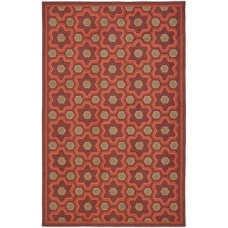 Martha Stewart Puzzle Chocolate Cosmos Brown Wool Rug (7'9 x 9'9)