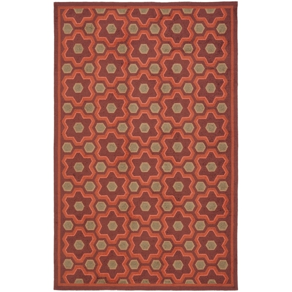 Martha Stewart by Safavieh Puzzle Chocolate Cosmos Brown Wool Rug - 7'9 x 9'9