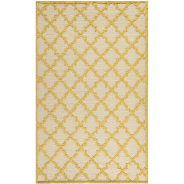 Martha Stewart by Safavieh Vermont Ivory/ Gold Wool Rug (5' x 8')