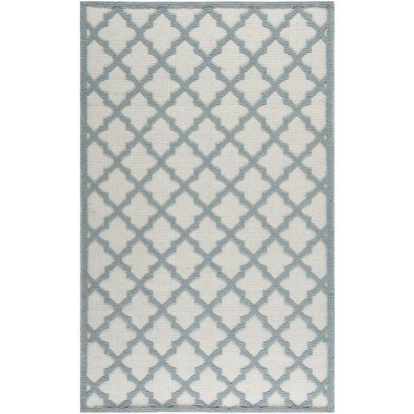 Martha Stewart Vermont Ivory/ Light Blue Wool Rug (8' x 10')