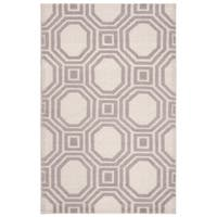 Martha Stewart by Safavieh Vermont Ivory/ Purple Wool Rug - 4' x 6'