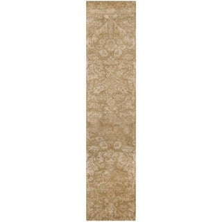 Martha Stewart Damask Honeycomb Wool/ Viscose Rug (2' 3 x 10')