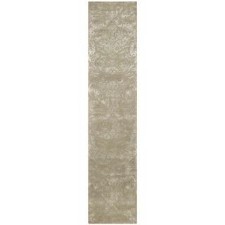 Martha Stewart Damask Sage Wool/ Viscose Rug (2' 3 x 10')