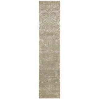 Martha Stewart by Safavieh Damask Sage Wool/ Viscose Rug (2' 3 x 10')