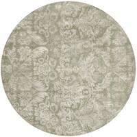 Martha Stewart by Safavieh Damask Sage Wool/ Viscose Rug - 6' Round